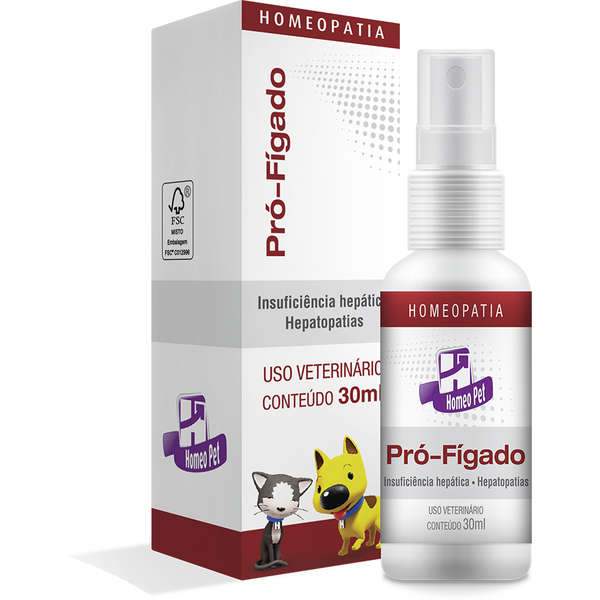 Pró-Fígado 30ml Homeo pet Real H Homeopatico Cães e Gatos