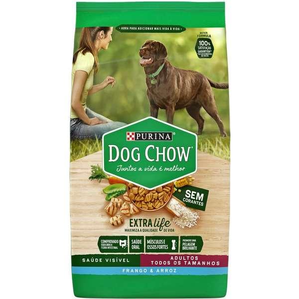 Ração Dog Chow Sem Corantes Frango e Arroz para Cães Adultos de Todos os Tamanhos - 3 Kg