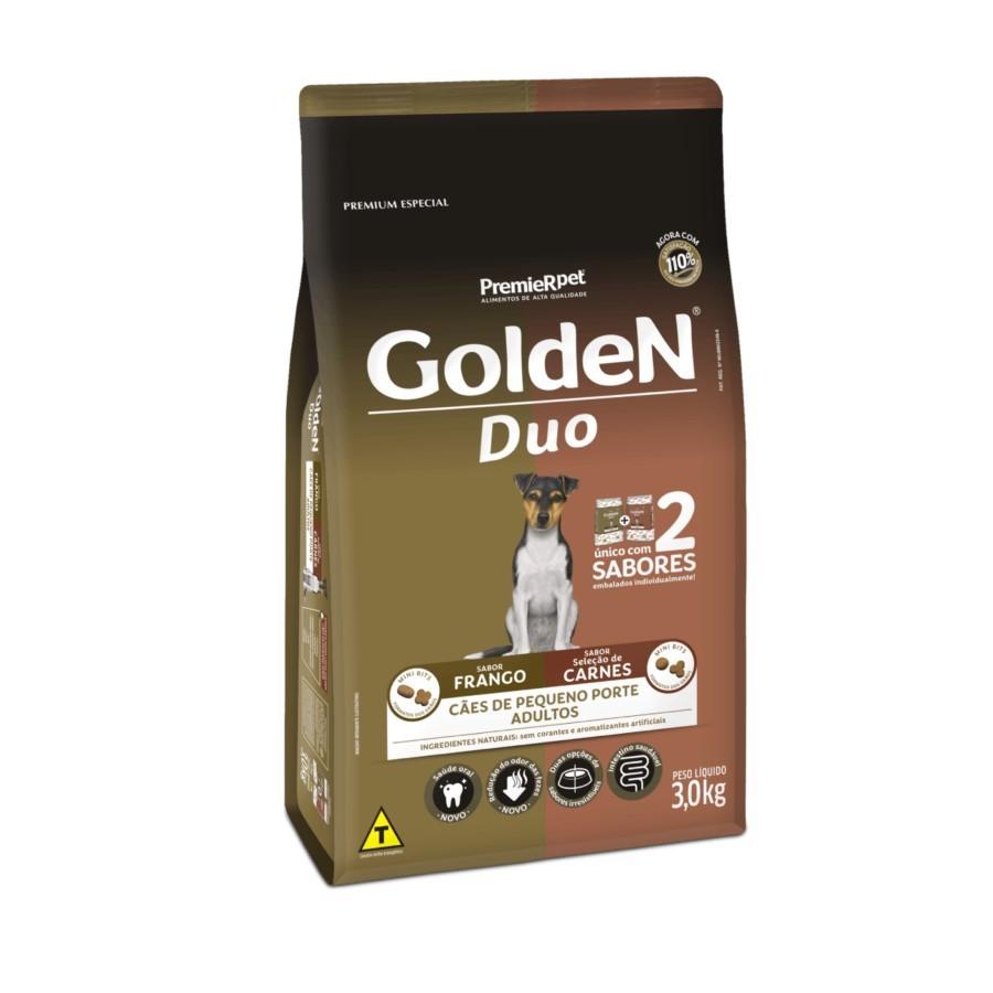 Ração Golden Duo Cães Pequeno Porte Adultos Frango e Carnes 3kg