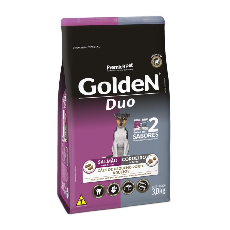 Ração Golden Duo Cães Pequeno Porte Adultos Salmão e Cordeiro 3kg