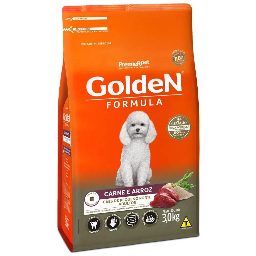 Ração Golden Formula Cães Pequeno Porte Adulto Carne e Arroz 3kg