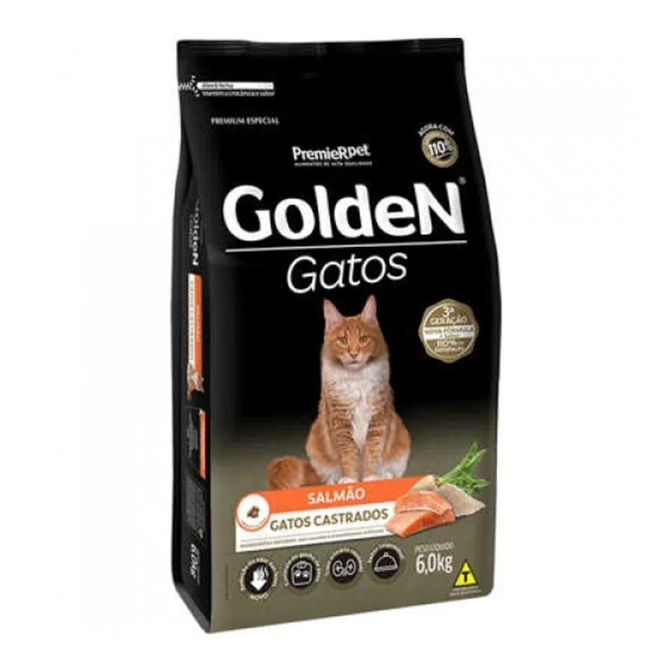 Ração Golden Gatos Adultos Castrados Salmão 6,0kg