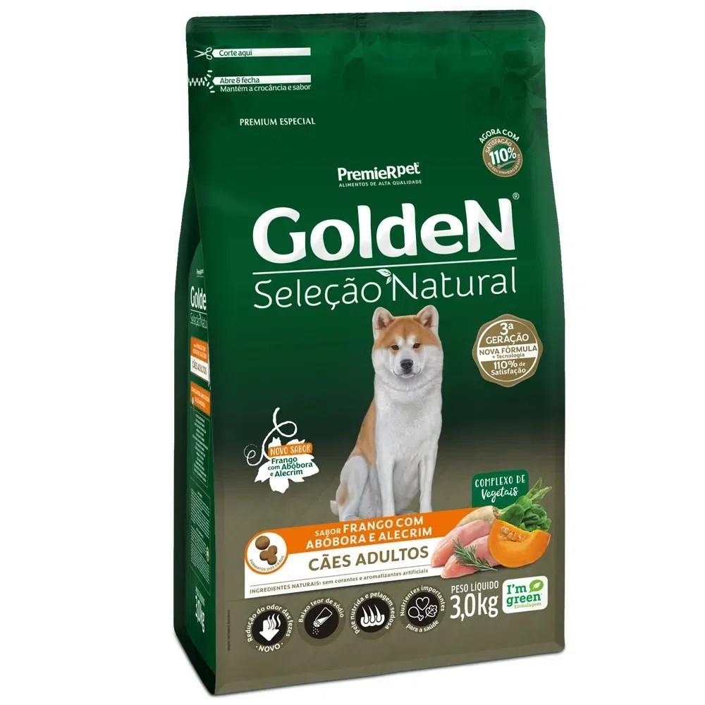 Ração Golden Seleção Natural Cães Adulto Frango Abóbora e Alecrim 3kg
