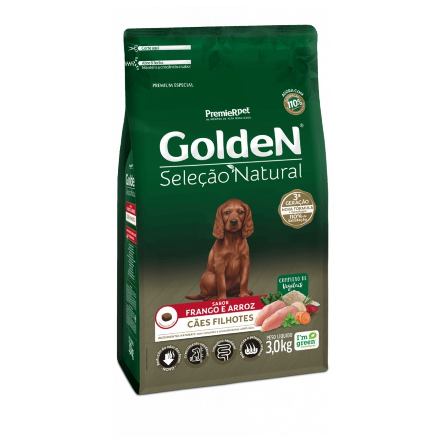 Ração Golden Seleção Natural Cães Filhotes Frango Arroz 3kg