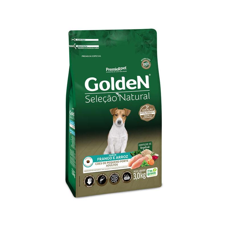 Ração Golden Seleção Natural Cães Pequeno Porte Adulto Frango Arroz 3kg