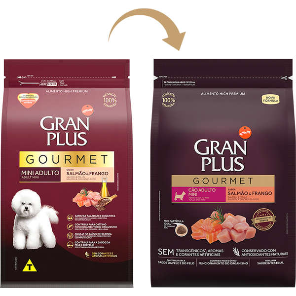 Ração GranPlus Gourmet Salmão e Frango para Cães Adultos Mini - 1 Kg