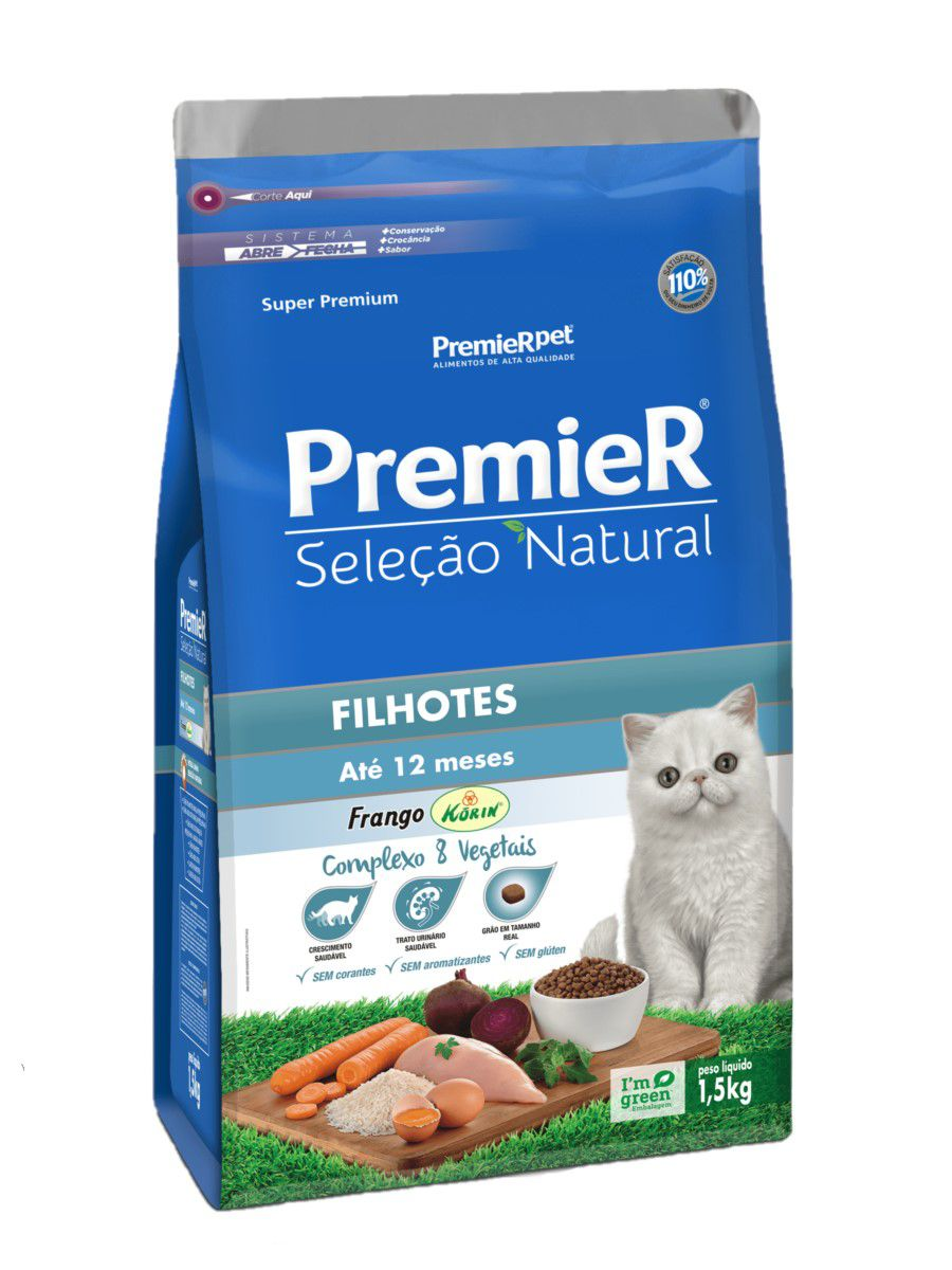 Ração Premier Seleção Natural Gatos Filhotes Até 12 Meses Frango 1,5Kg