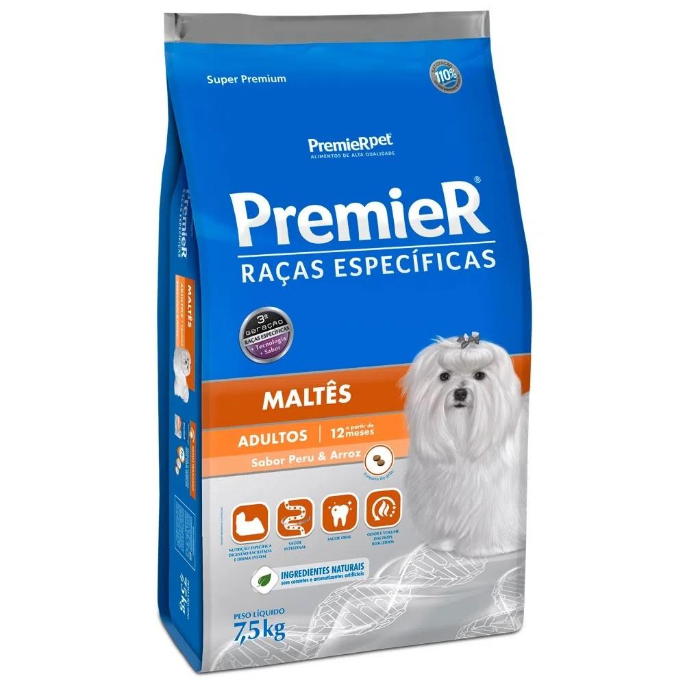 Ração Premier Maltês Adulto Peru e Arroz 7,5kg