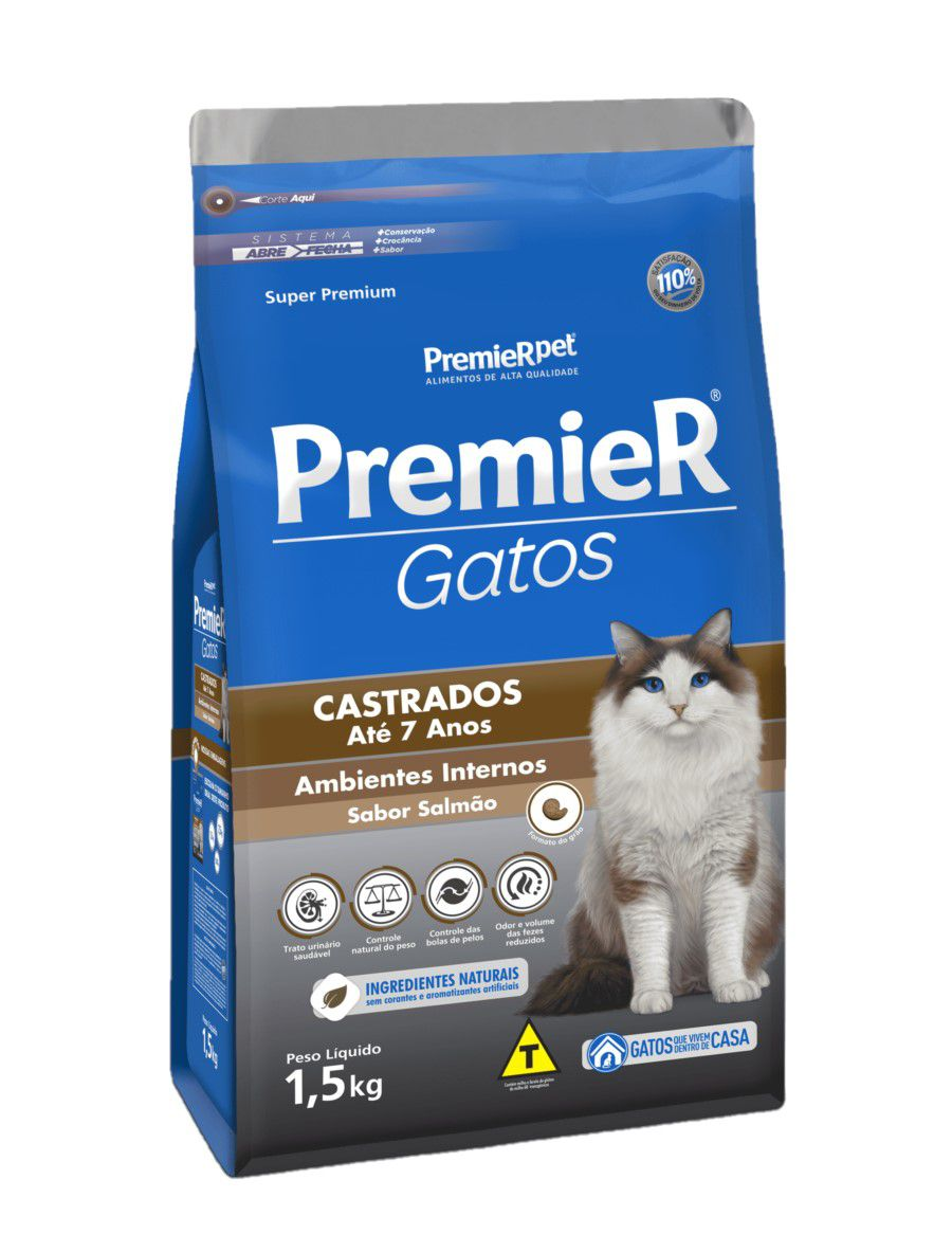 Ração Premier Para Gatos Castrados Até 7 Anos Salmão 1,5Kg