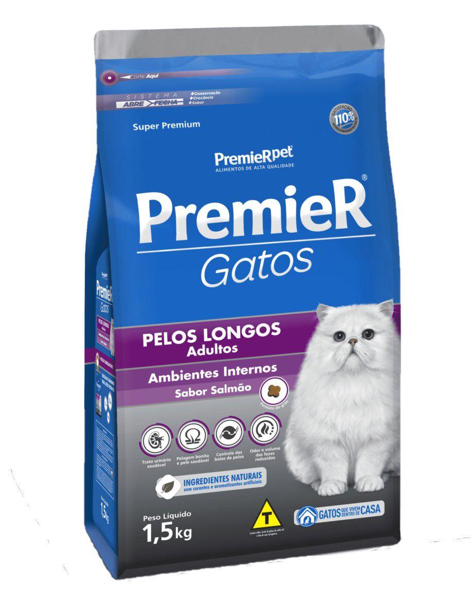 Ração Premier Para Gatos Pelos Longis Adultos Salmão 1,5Kg