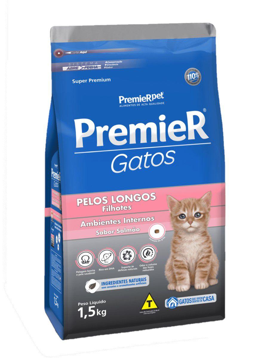 Ração Premier Para Gatos Pelos Longos Filhotes Salmão 1,5Kg