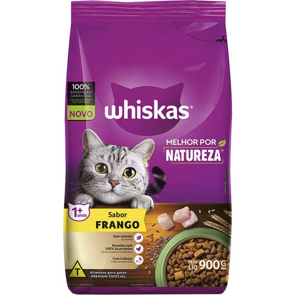 Ração Whiskas Melhor Por Natureza Frango Gatos Adultos - 900 g