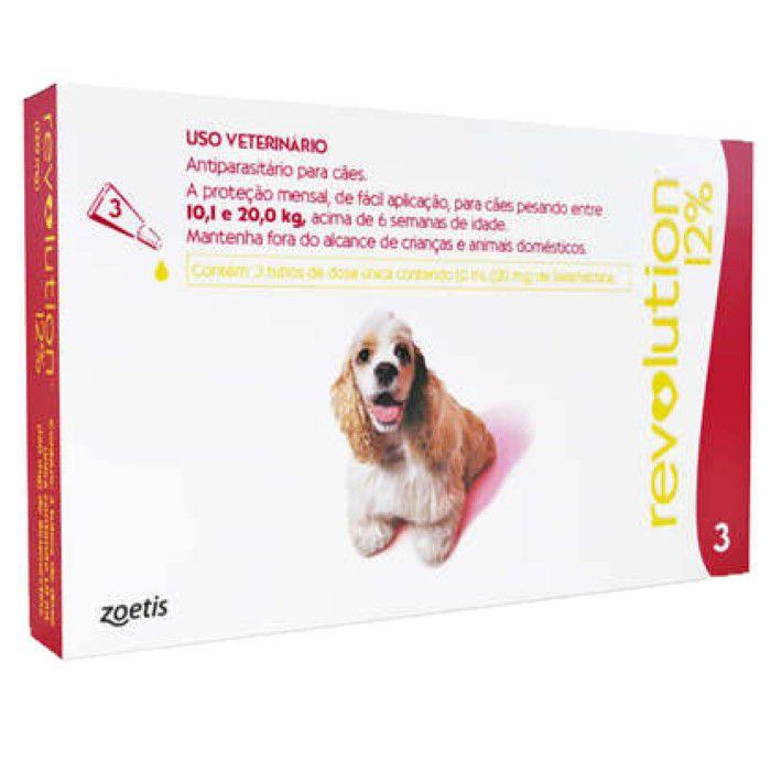 Revolution 12% 3 tubos Para Cães 10,1 Kg - 20kg
