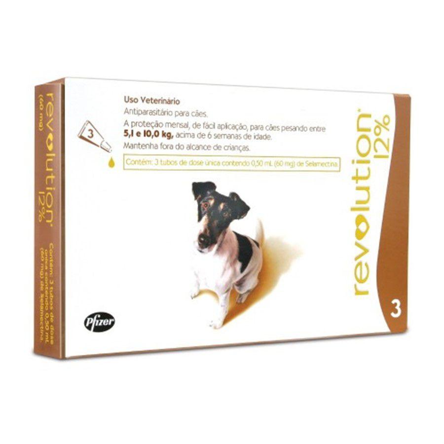 Revolution 12% 3 tubosPara Cães 5,1-10 Kg