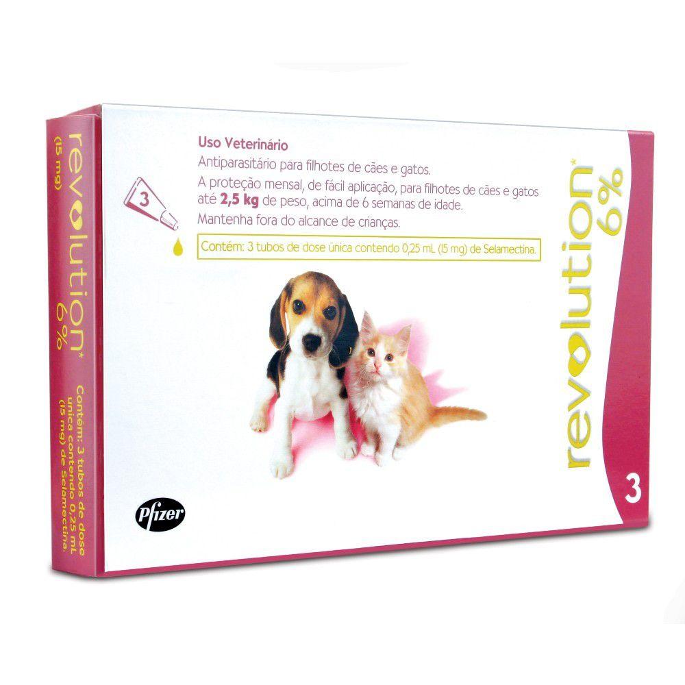 Revolution 6% 3 tubos Cães E Gatos Até 2,5kg