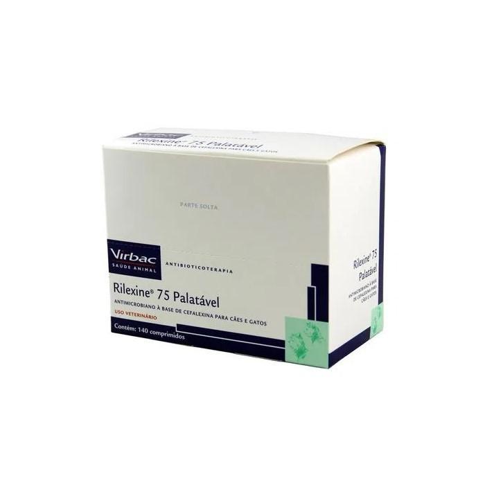 Rilexine 75 Palatável Virbac Antibiótico Cães e Gatos 140Comp.