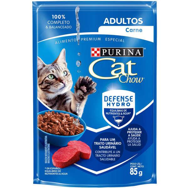 Sache Cat Chow Purina Adultos Carne 85g Kit 15 Und.