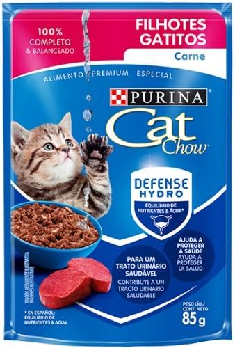 Sache Cat Chow Purina Filhotes Carne 85g Kit 15 Und.