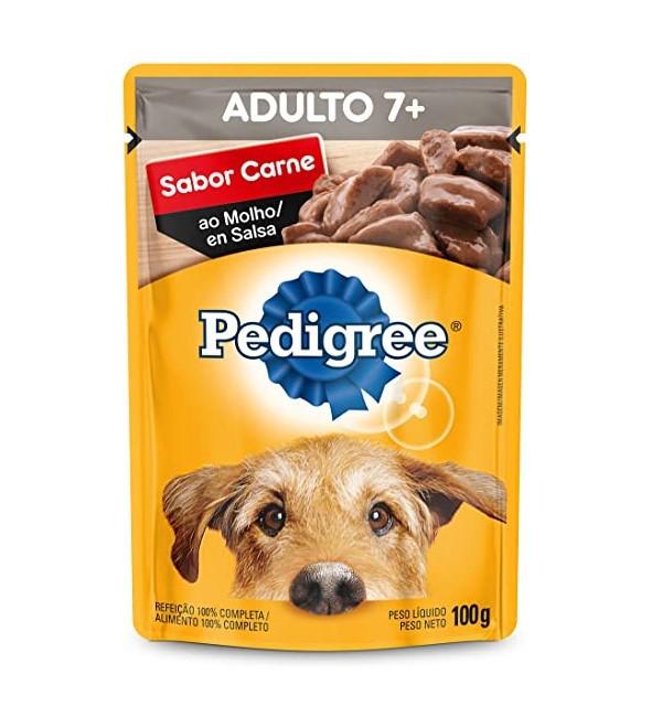 Sache Pedigree Adulto 7+ Carne 100g Cães Kit 20 Und.