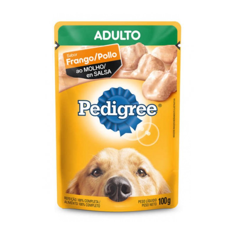 Sache Pedigree Adulto Frango ao Molho 100g Cães Kit 20 Und.
