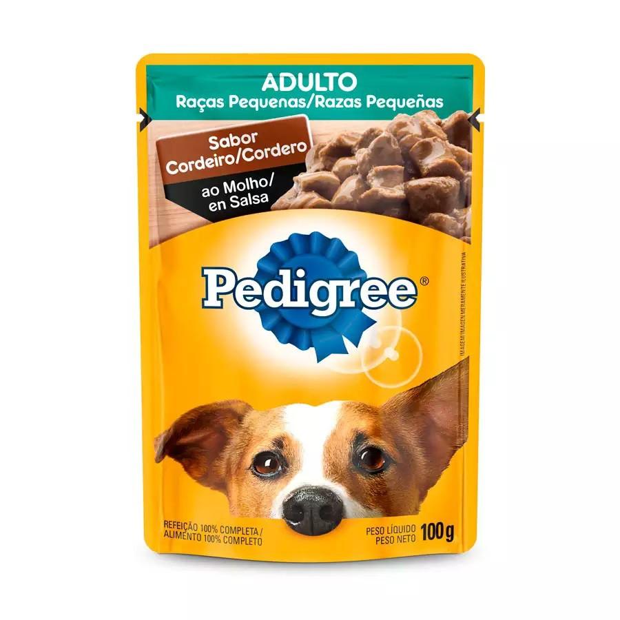 Sache Pedigree Adulto Raças Pequenas Cordeiro 100g Cães Kit 20 Und.