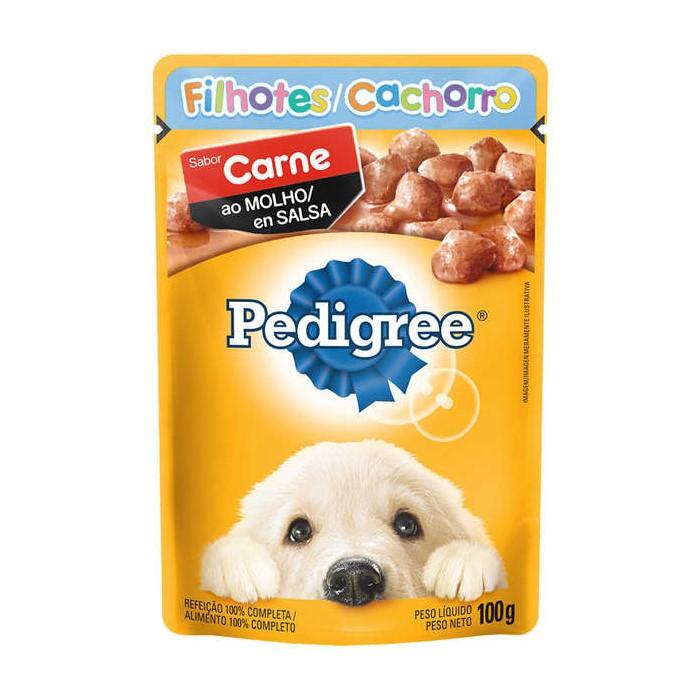 Sache Pedigree Filhotes Carne ao Molho 100g Cães Kit 20 Und.