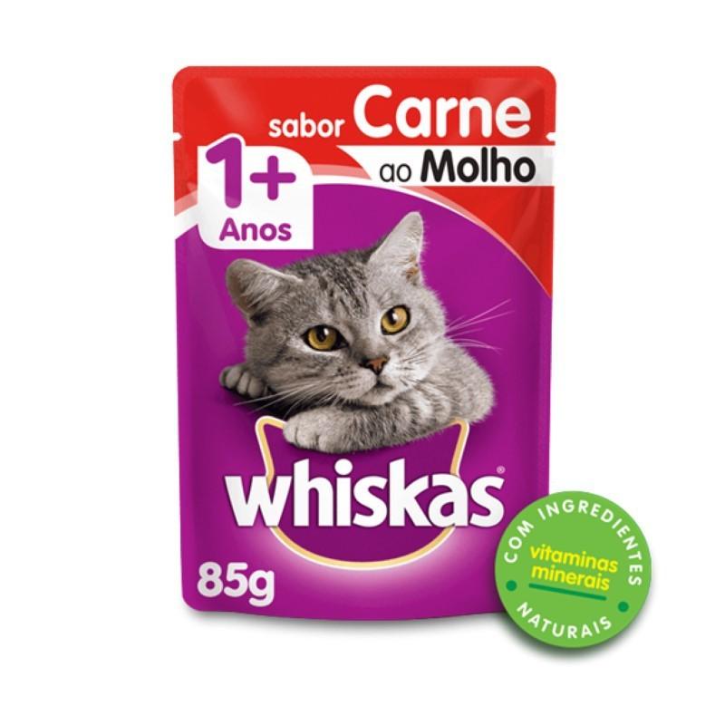 Sache Whiskas 1+ Adulto Carne ao Molho 85g Kit 20 Und.