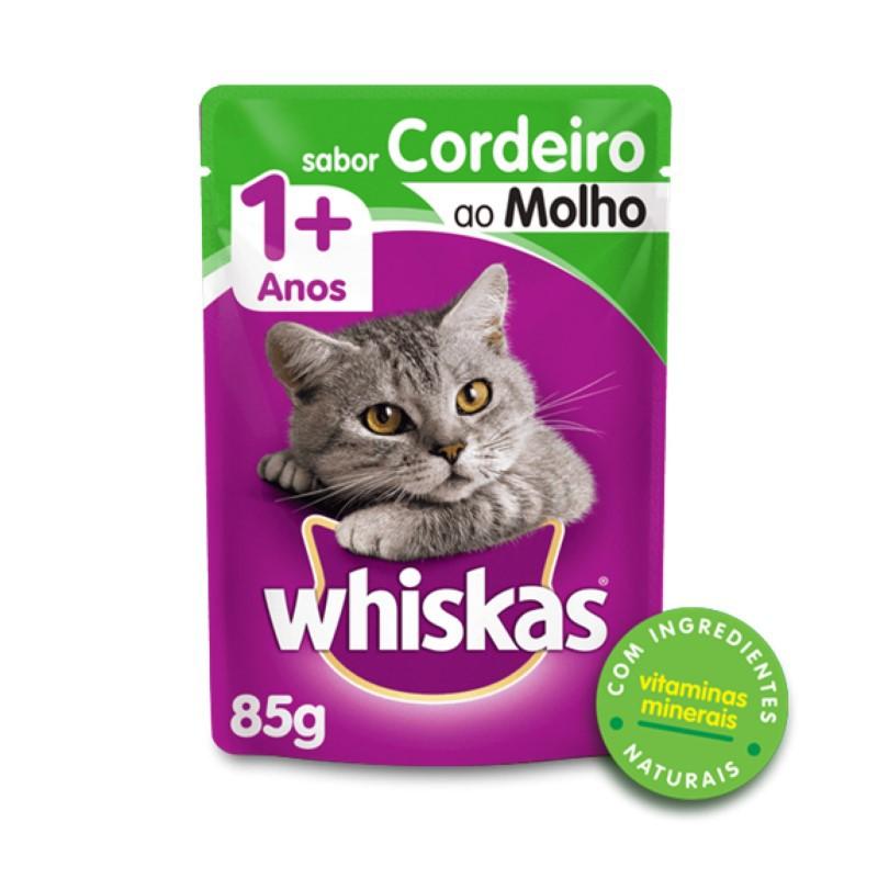 Sache Whiskas 1+ Adulto Cordeiro ao Molho 85g Kit 20 Und