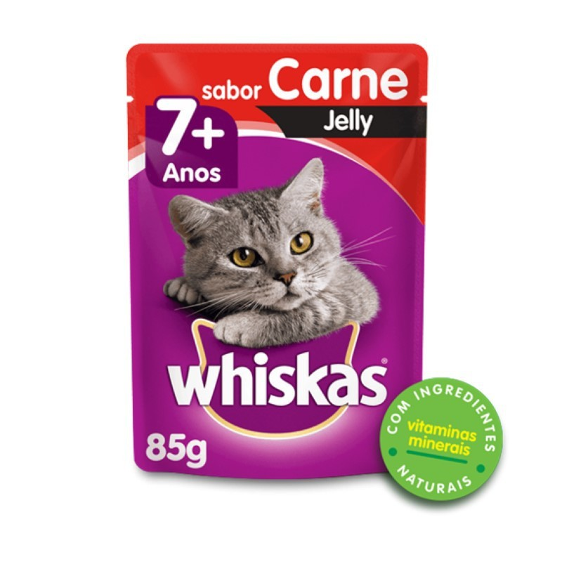 Sache Whiskas 7+ Adulto Carne Jelly 85g Kit 20 Und