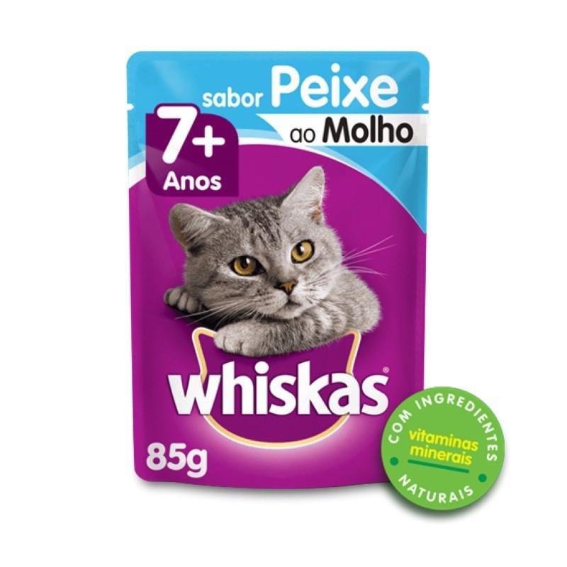 Sache Whiskas 7+ Adulto Peixe ao Molho 85g Kit 20 Und.