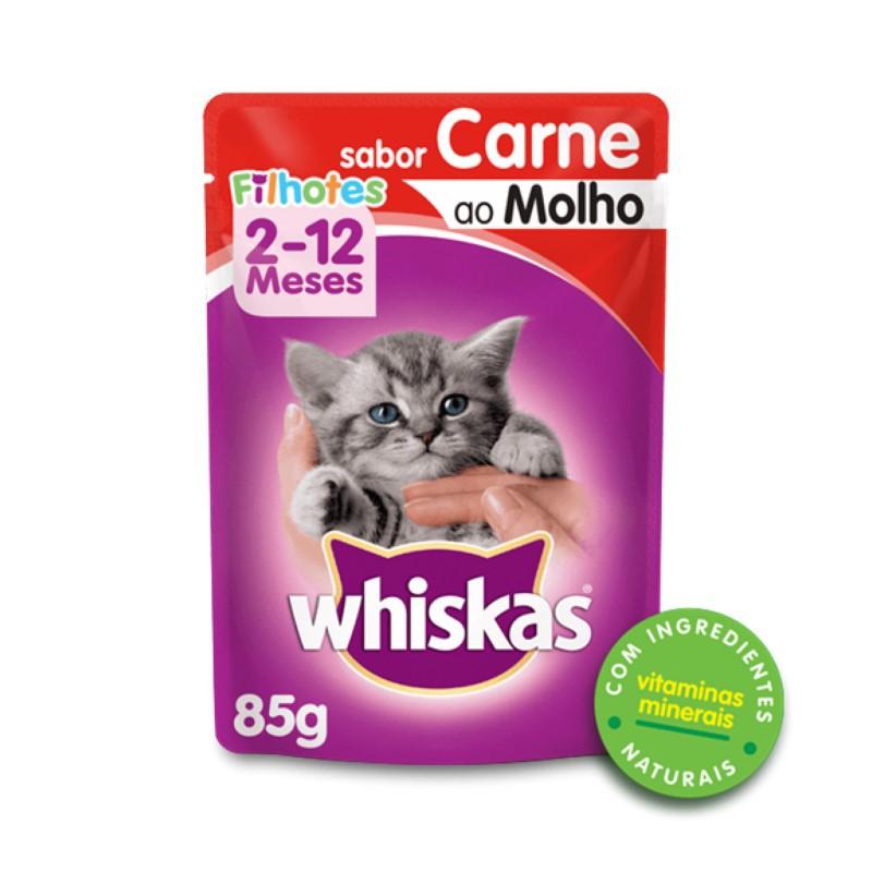 Sache Whiskas Filhotes Carne ao Molho 85g Kit 20 Und.