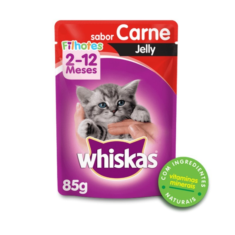 Sache Whiskas Filhotes Carne Jelly 85g Kit 20 Und.