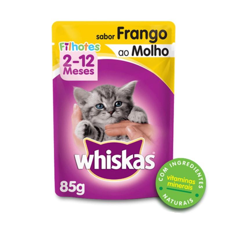 Sache Whiskas Filhotes Frango ao Molho 85g kit 20 Und.