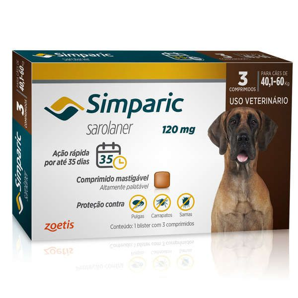 Simparic 120 Mg 3 Comp Para Cães Entre 40,1-60kg Zoetis