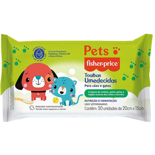 Toalhas Umedecidas Para Cães e Gatos Pets Fisher Price