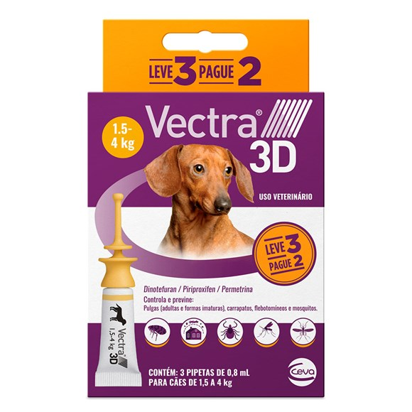 Vectra 3D Antipulgas Cães de 1,5 a 4 Kg - Combo Leve 3 Pague 2