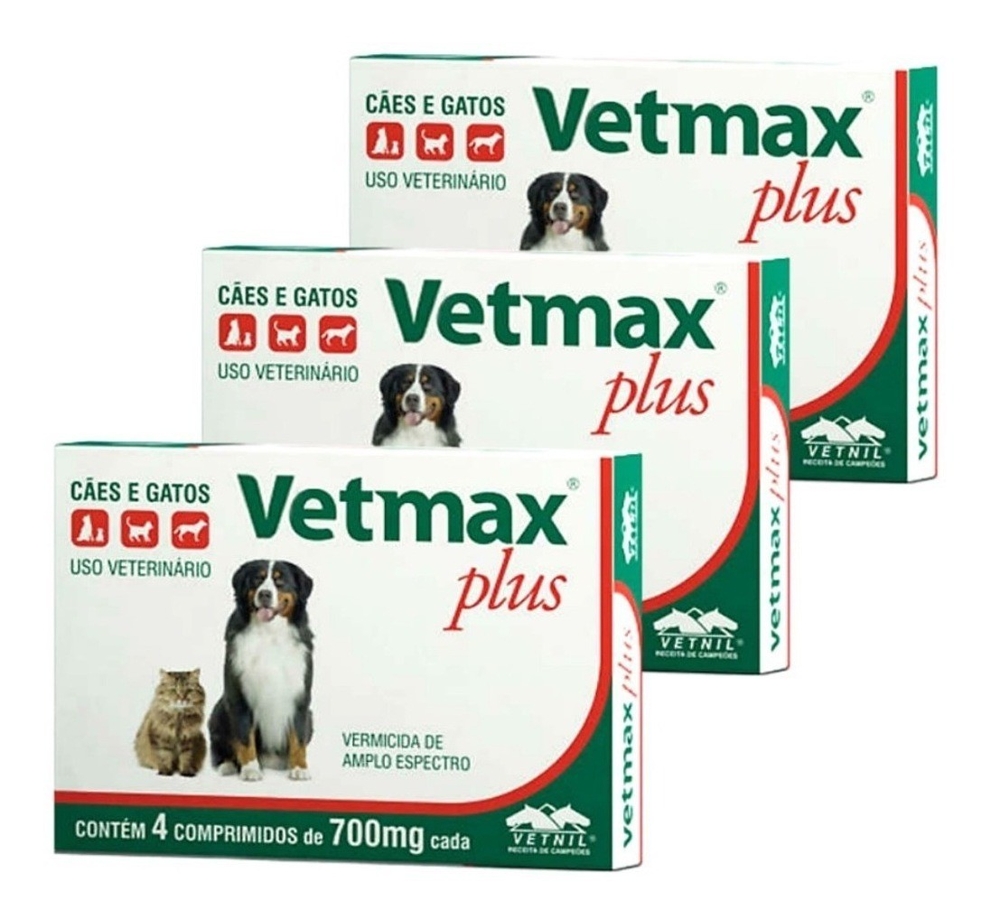 Vermifugo Cães E Gatos Vetmax Plus - 700mg kit 3 caixas