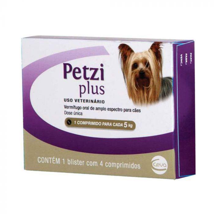 Vermífugo Ceva Petzi Plus Para Cães 4 Comprimidos