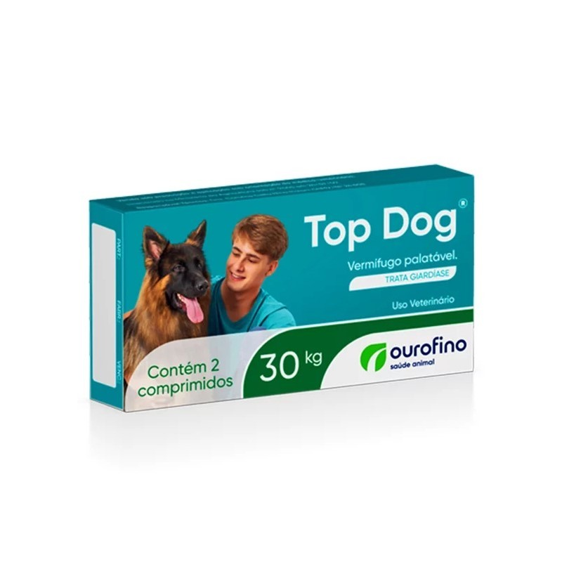 Vermifugo Ouro Fino Top Dog 30kg - Caixa 2 Comprimidos