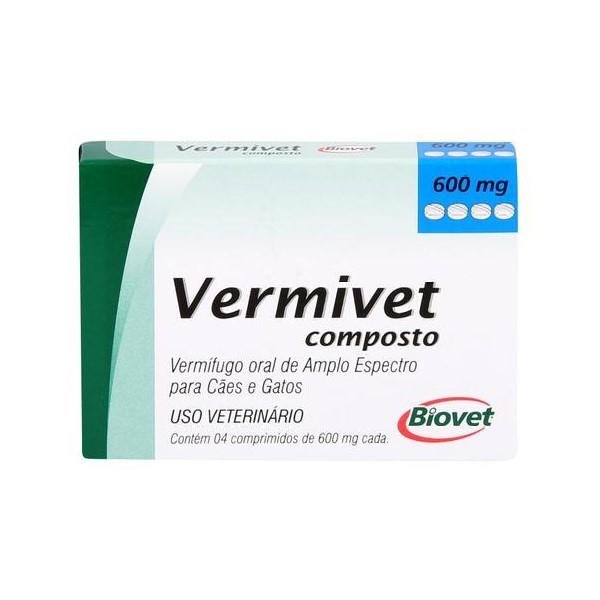 Vermivet Composto 600mg Biovet 4 Comprimidos