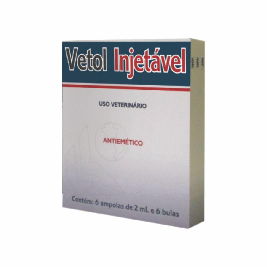 Vetol Injetável Antiemético 6 Ampolas 2ml