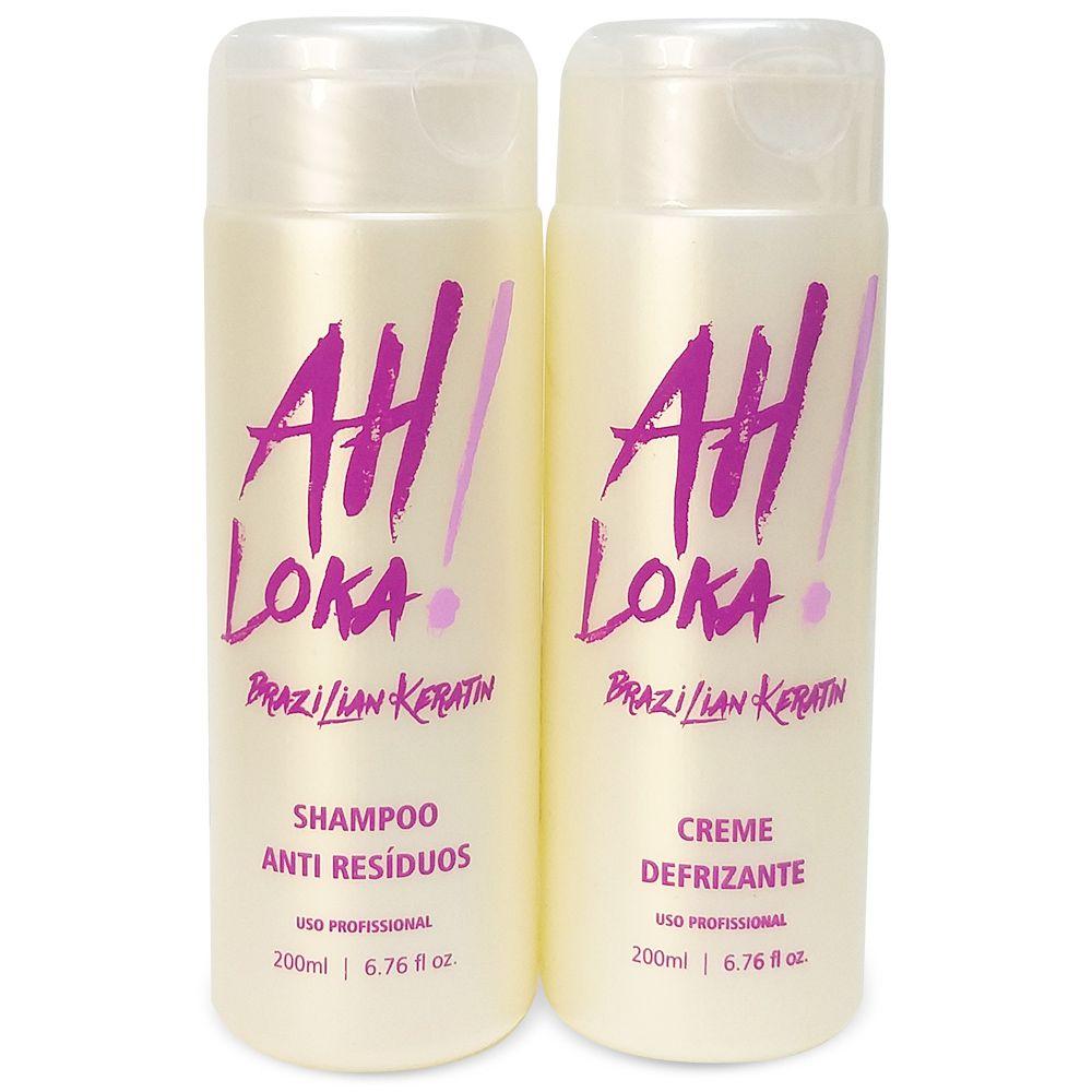 Kit Pequeno Escova Progressiva Ah Loka (Shampoo 200ml + Creme Defrizante 200g)