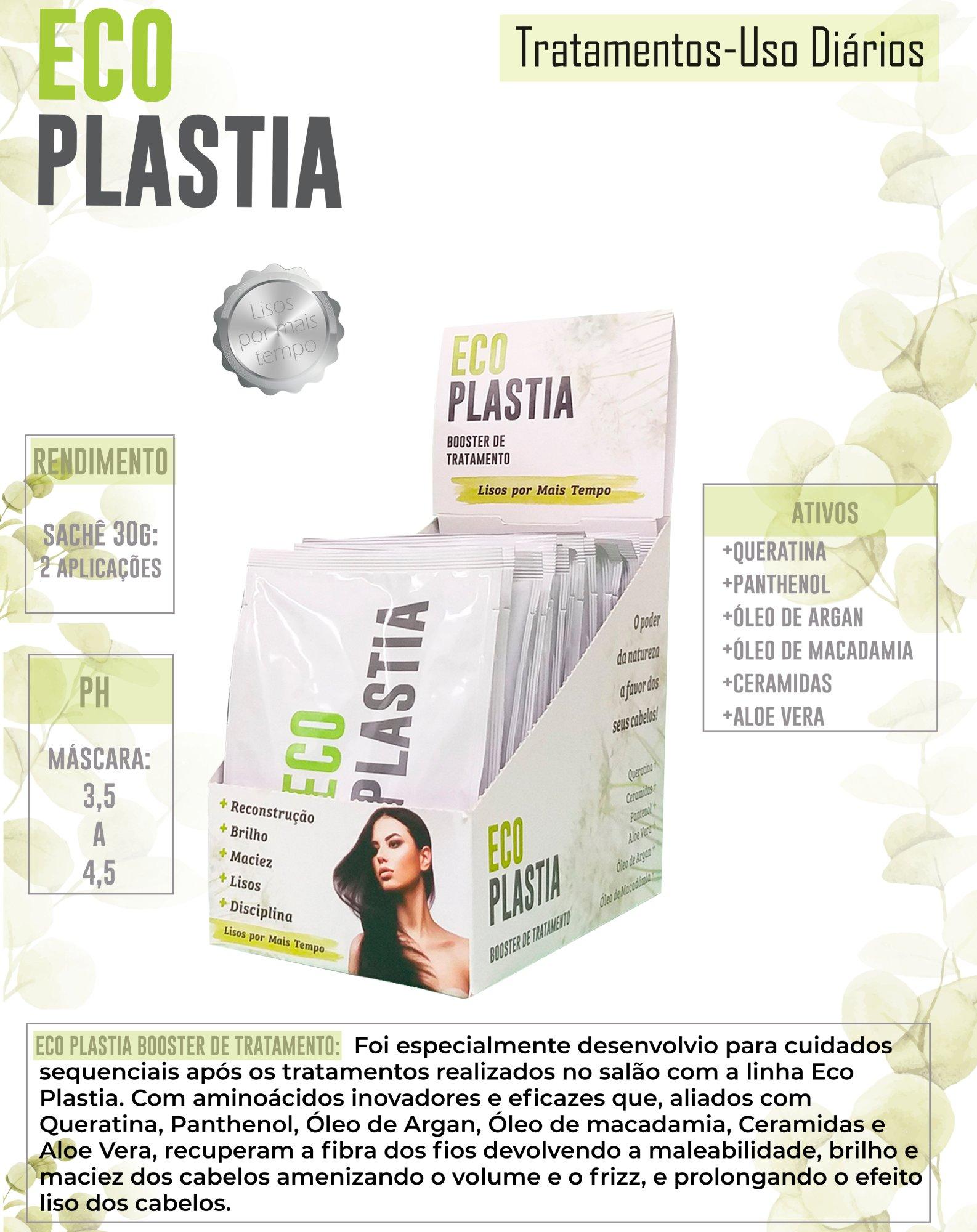 Mascara de Tratamento Booster com Efeito Liso por mais tempo EcoPlastia 20 unidades Sachê 30g