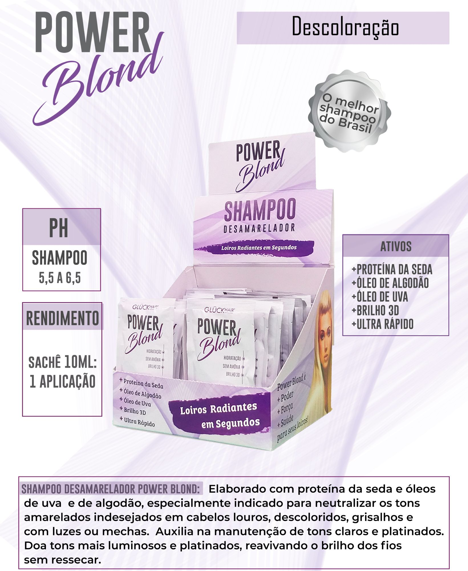 Shampoo Desamarelador PowerBlond - Sachê 10ml