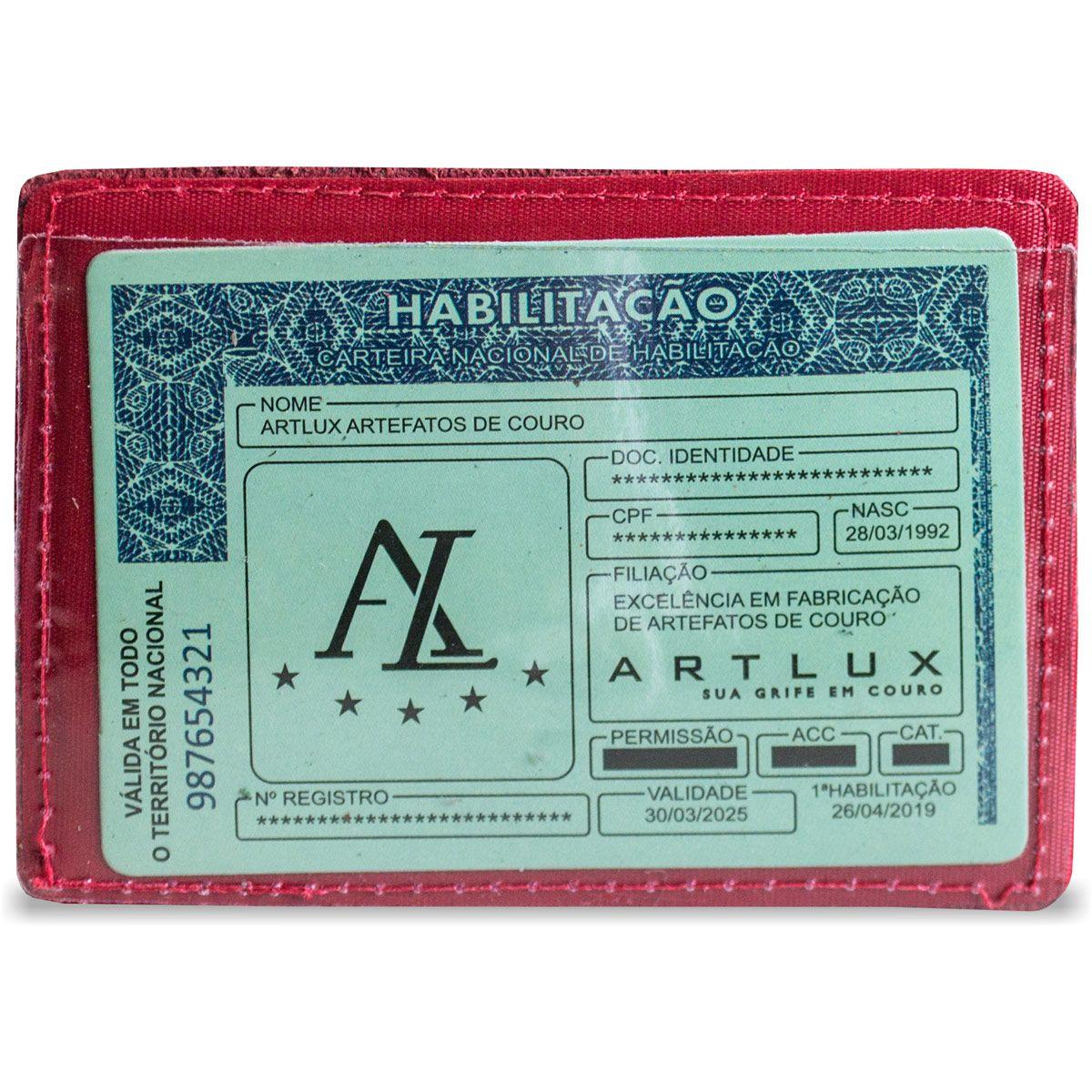 Porta Cartão com CNH em Couro