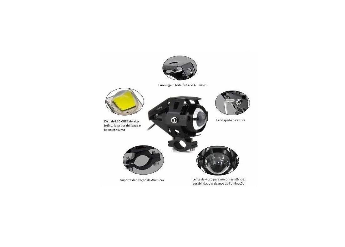 Farol Milha Moto Led com Interruptor Universal