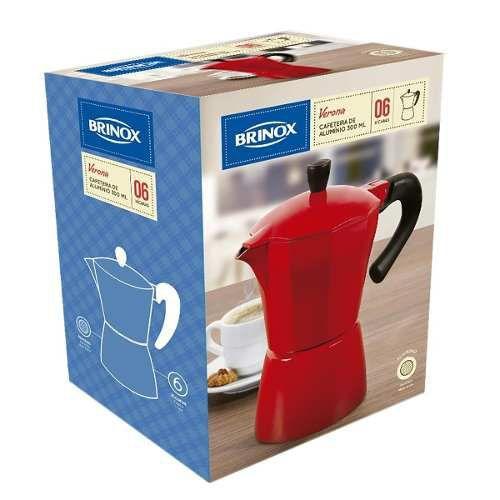 Cafeteira Italiana Verona Brinox - Alumínio Vermelha 300ml 6 xícaras