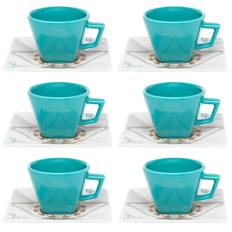 Conjunto com 6 Xícaras de Café e 6 Pires 200ml Quartier Domo Oxford Porcelanas