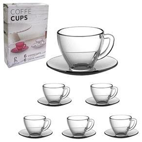 Conjunto com 6 Xícaras de Café e 6 Pires de Vidro Transparente 90ml