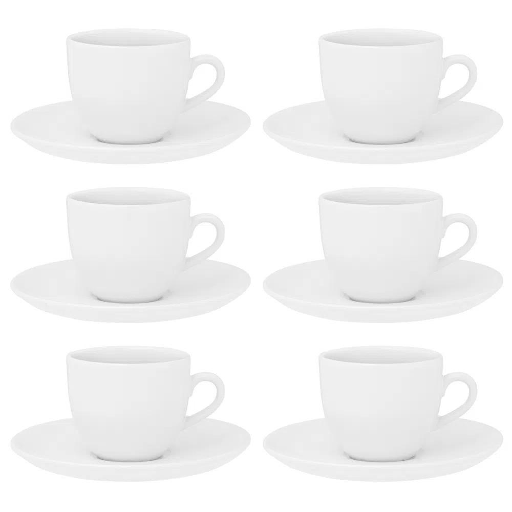 Conjunto de 6 Xícaras e 6 Pires 200ml Branca Coup White Oxford Porcelanas